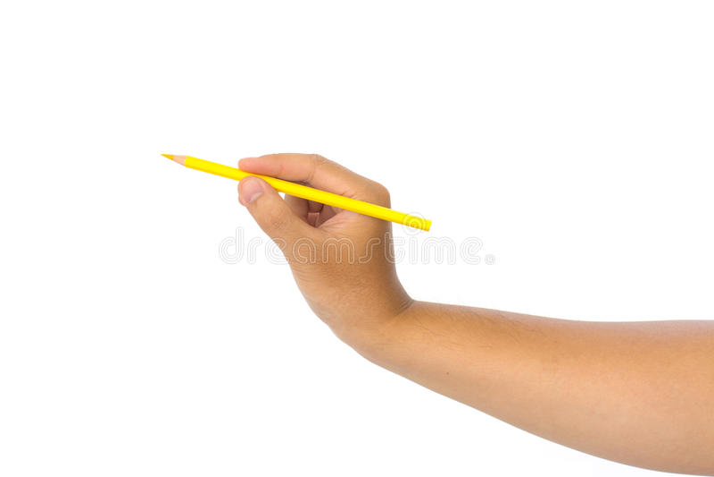 Isolerad blyertspenna för guling för manhandinnehav arkivfoto