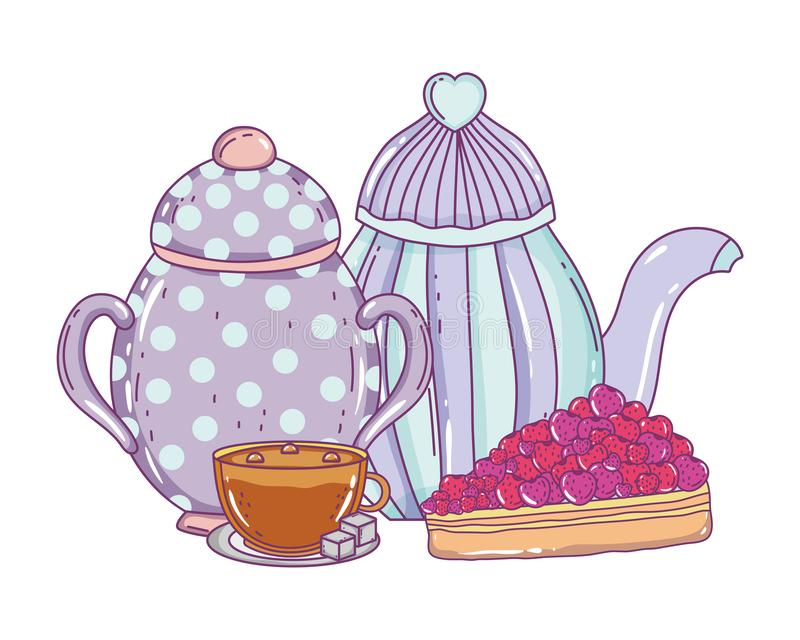 Isolerad bunke- och kaffekrukadesign royaltyfri illustrationer