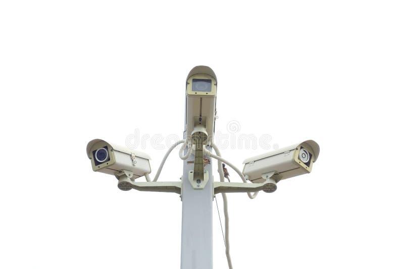 Isolerad CCTV för tre kamera royaltyfria foton