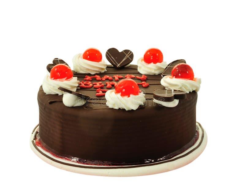 Isolerad chokladcake royaltyfria bilder
