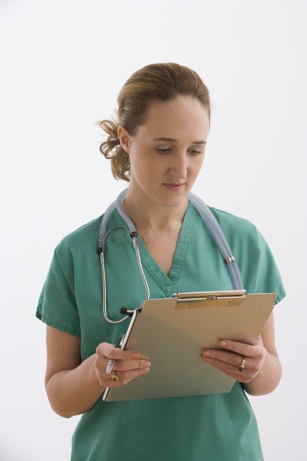 isolerad clipboard se sjuksköterskan arkivbilder