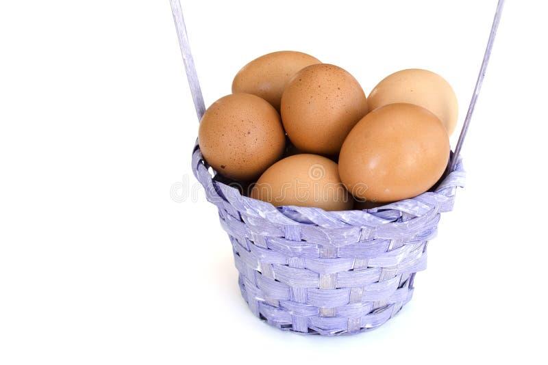 Isolerad closeup av en hög av bruna fega ägg som ligger i en vide- korg m?lat gr?s f?r 2 placerade allt f?r easter f?r hinkf?gelu royaltyfri foto