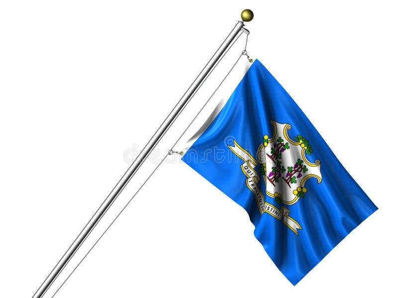 isolerad connecticut flagga royaltyfri illustrationer