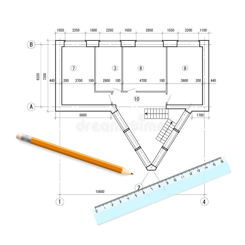 Isolerad design för en byggnad med linjalen och blyertspenna på vit bakgrund Iscensätta linjen utkast av stugan arkitektur stock illustrationer