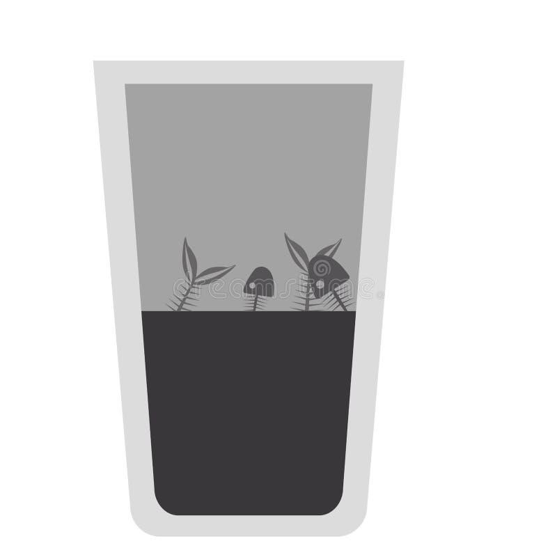 Isolerad design för exponeringsglas för vatten för fiskinsida smutsig stock illustrationer