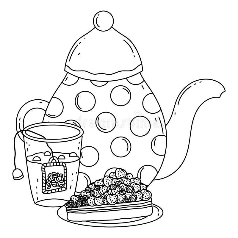 Isolerad design för kaffekruka- och kakavektor royaltyfri illustrationer