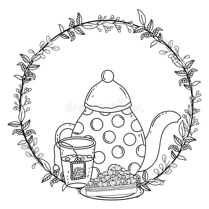 Isolerad design för kaffekruka- och kakavektor vektor illustrationer