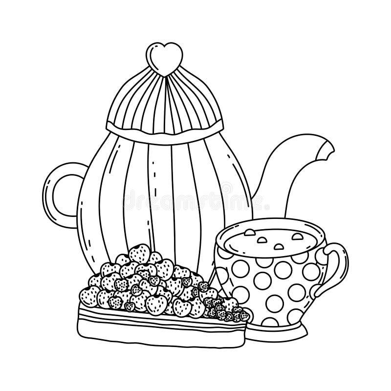 Isolerad design för kaffekruka- och koppvektor royaltyfri illustrationer