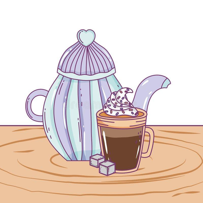 Isolerad design för kaffekrukavektor royaltyfri illustrationer