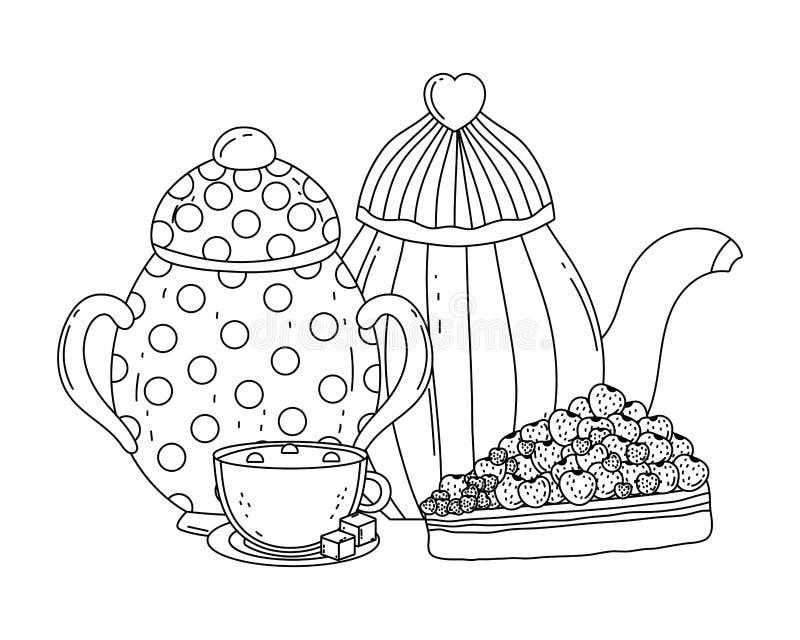Isolerad design för kruka för sockerbunke och kaffe royaltyfri illustrationer