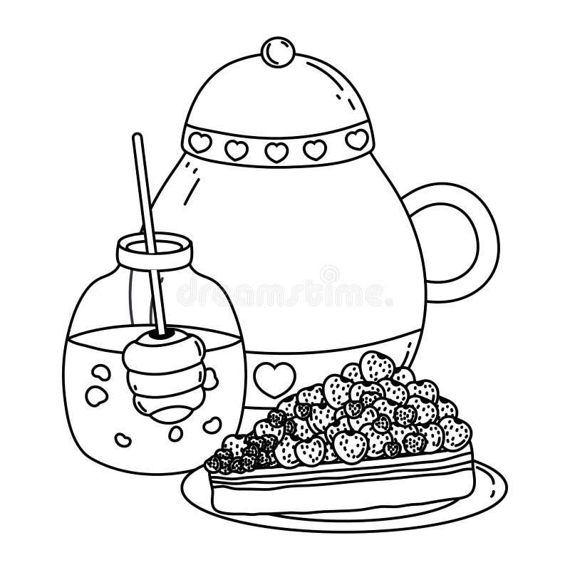 Isolerad design för krus för sockerbunke och honung stock illustrationer