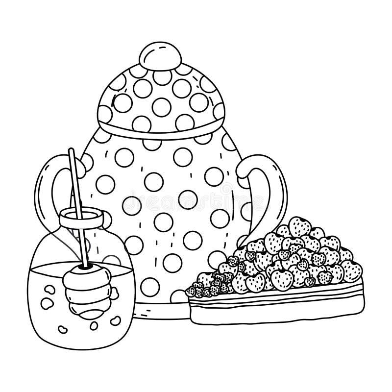 Isolerad design för krus för sockerbunke och honung vektor illustrationer