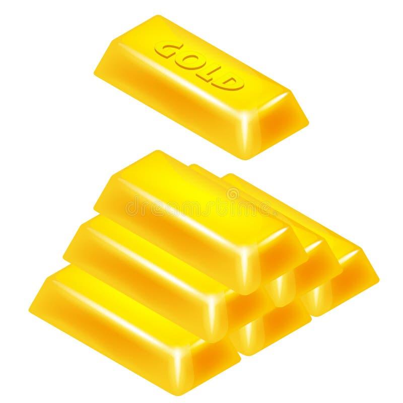 Isolerad design för pyramid 3D för guld- stång vektor illustrationer