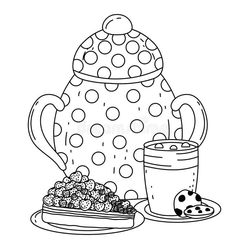 Isolerad design för sockerbunke och kaka vektor illustrationer