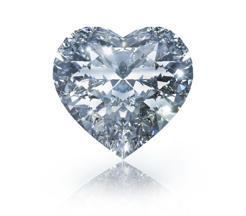 Isolerad diamant i form av en hjärta på vit bakgrund stock illustrationer