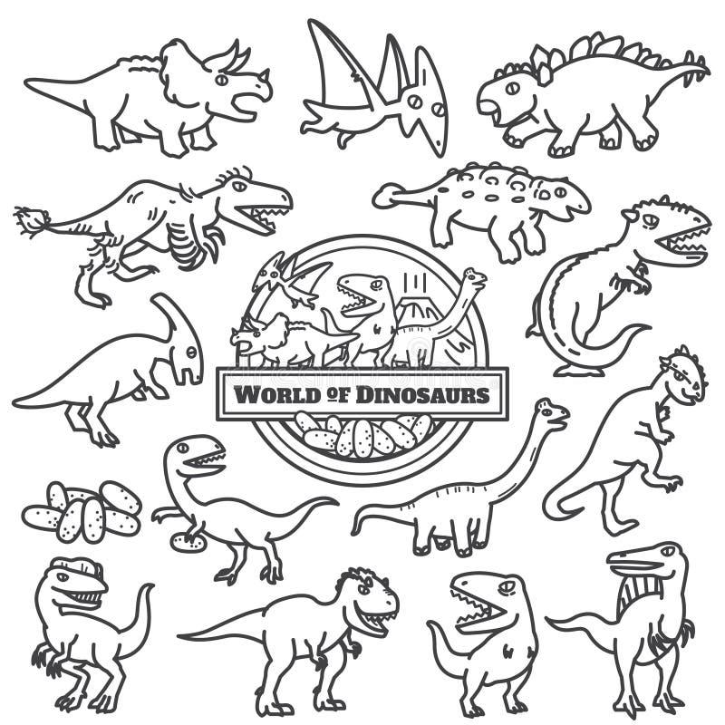 Isolerad dinosauriesymbol tecknad filmteckendesign vektor illustrationer