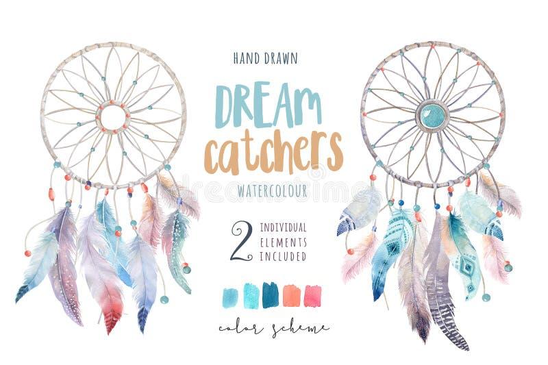 Isolerad dreamcatcher för vattenfärggarneringbohem Boho feath royaltyfri illustrationer