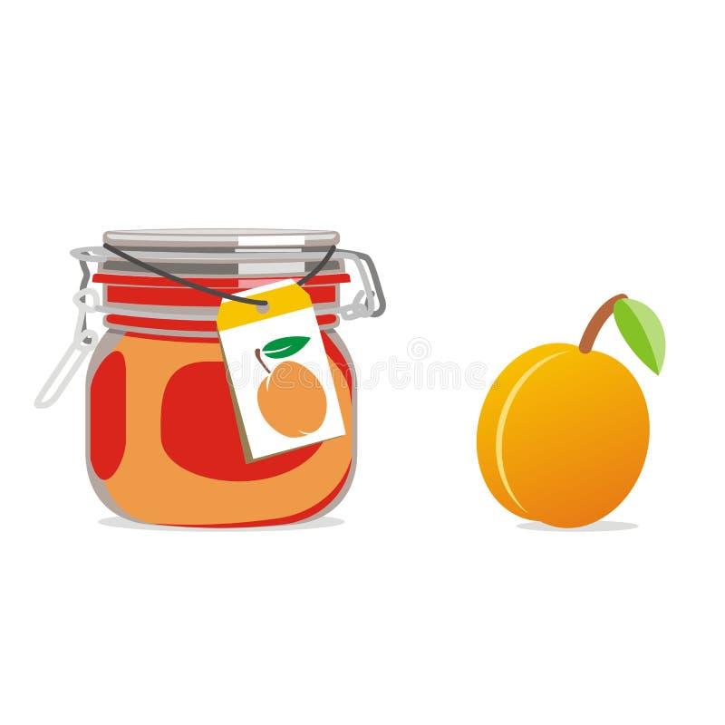 isolerad driftstoppjar för aprikos frukt royaltyfri illustrationer