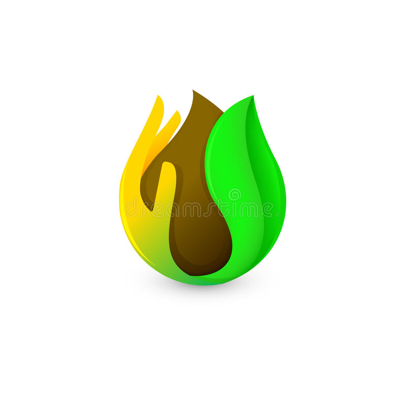 Isolerad droppe för abstrakt begreppbruntfärg gömma i handflatan och gör grön in bladlogo Kaffe- och chokladlogotyp Naturprodukts vektor illustrationer