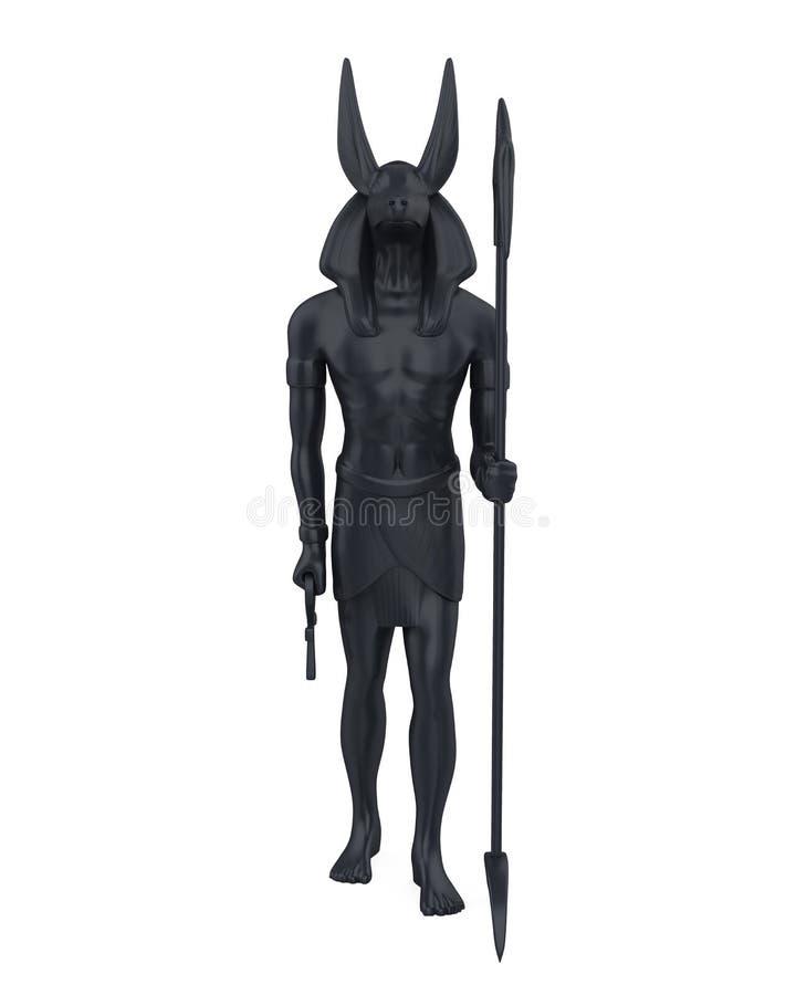 Isolerad egyptierAnubis staty royaltyfri illustrationer