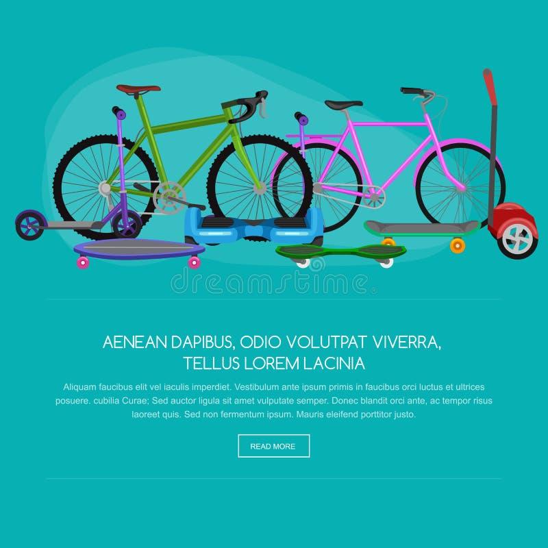 Isolerad elektrisk sparkcykel, en och två-rullad illustration för rörlighetsmedelvektor, Eco alternativ stadstransport royaltyfri illustrationer