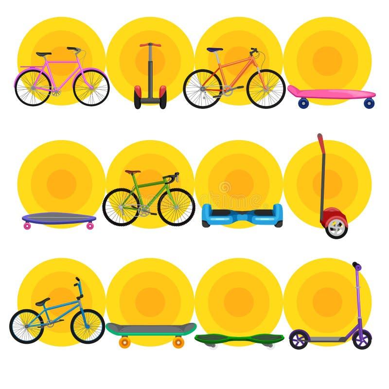 Isolerad elektrisk sparkcykel med maktbatteriet, ett och denrullade för medelvektor för rörlighet elektriska illustrationen, Eco royaltyfri illustrationer