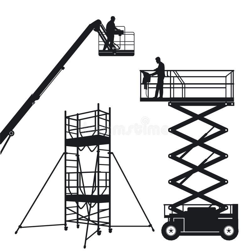 isolerad elevatormaterial till byggnadsställning vektor illustrationer