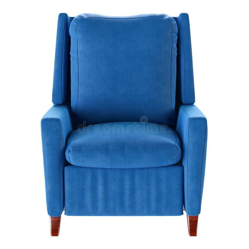 Isolerad enkel blå fåtölj Bekläda beskådar 3d fotografering för bildbyråer