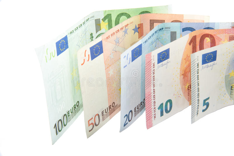Isolerad eurosedelvåg på vit bakgrund royaltyfria foton