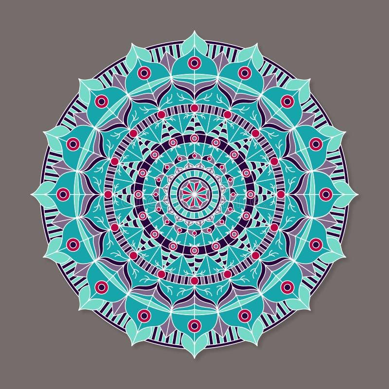 Isolerad färgrik lineless vektormandala royaltyfri illustrationer