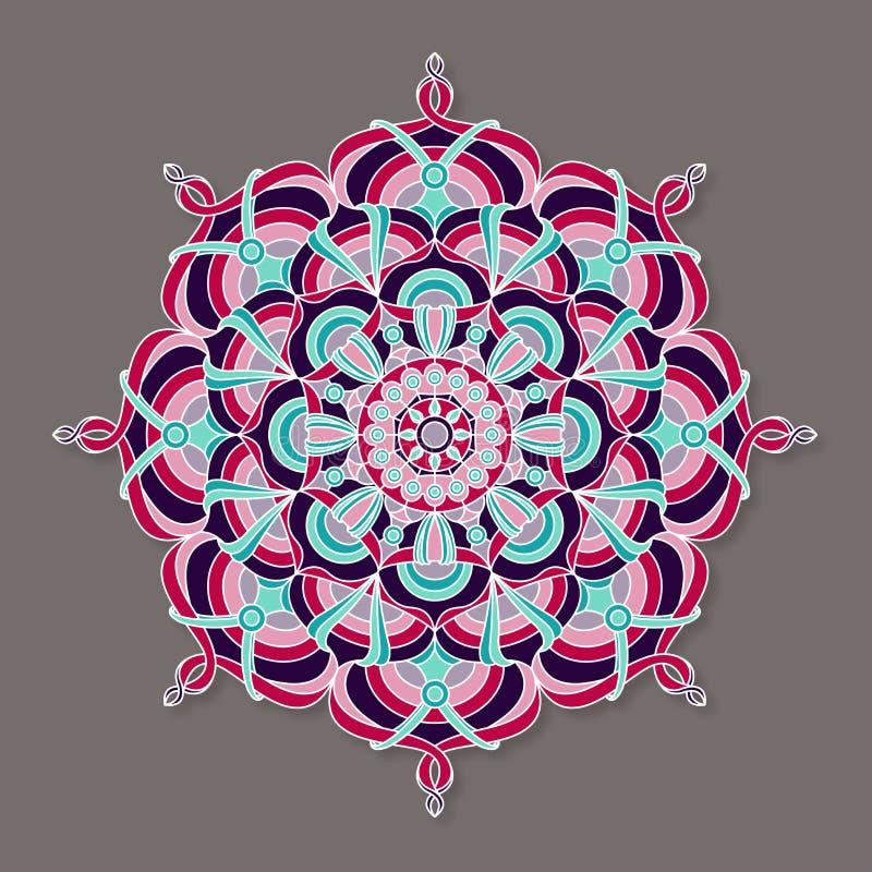 Isolerad färgrik lineless vektormandala stock illustrationer