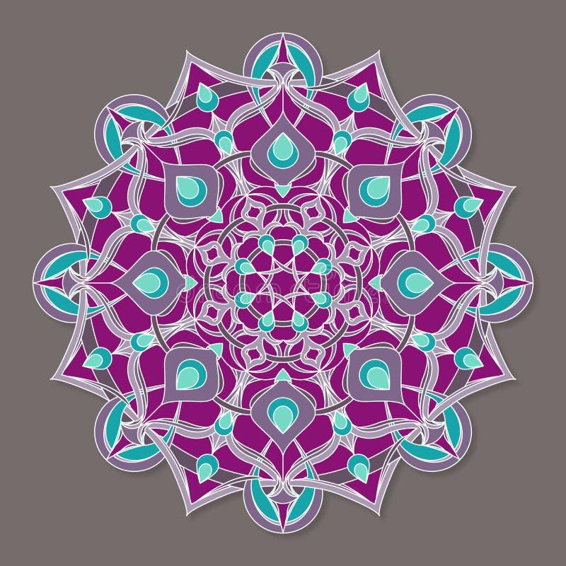 Isolerad färgrik lineless vektormandala vektor illustrationer