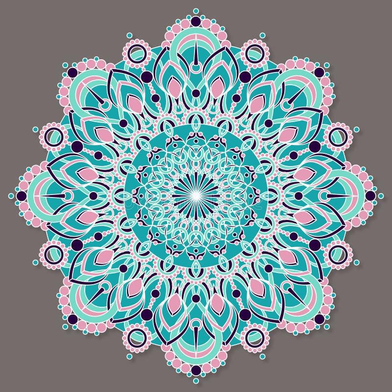Isolerad färgrik lineless vektormandala i pastellfärgade färger stock illustrationer