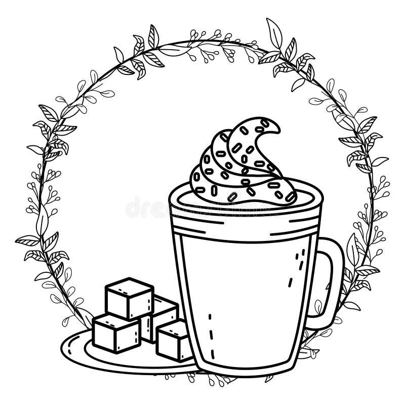 Isolerad för exponeringsglasvektor för med is kaffe design vektor illustrationer