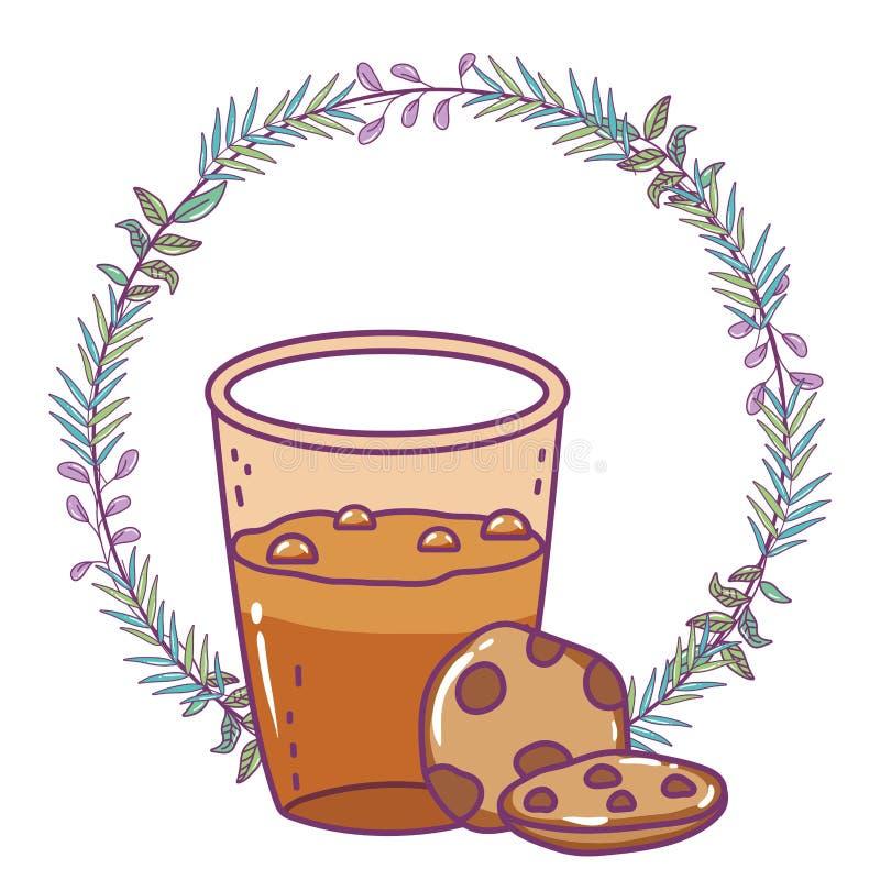 Isolerad för exponeringsglasvektor för med is kaffe design stock illustrationer