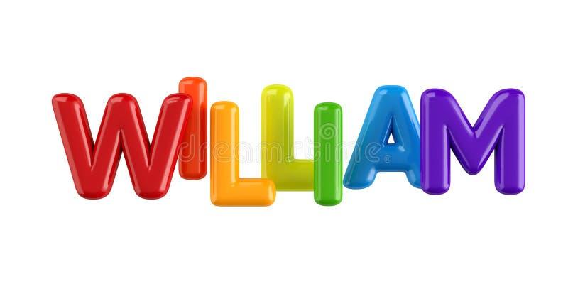 Isolerad för ungenamn för colorfull 3d stilsort William för ballong stock illustrationer