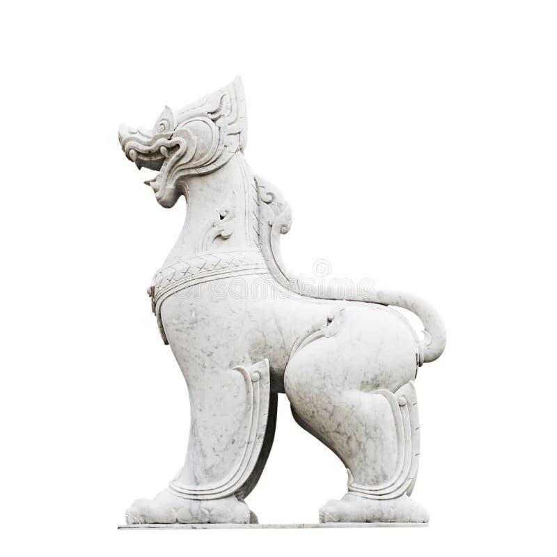 Isolerad för varelsemarmor för lejon baserad staty arkivfoton