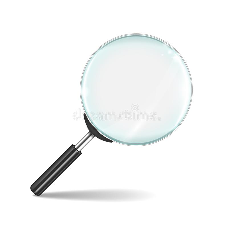 isolerad f?rstorande vektorwhite f?r bakgrund glass illustration Genomskinligt realistiskt zoomobjektiv som isoleras på vit bakgr royaltyfri illustrationer