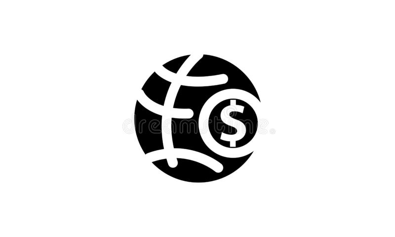 Isolerad fast symbol för pengarmall royaltyfri illustrationer