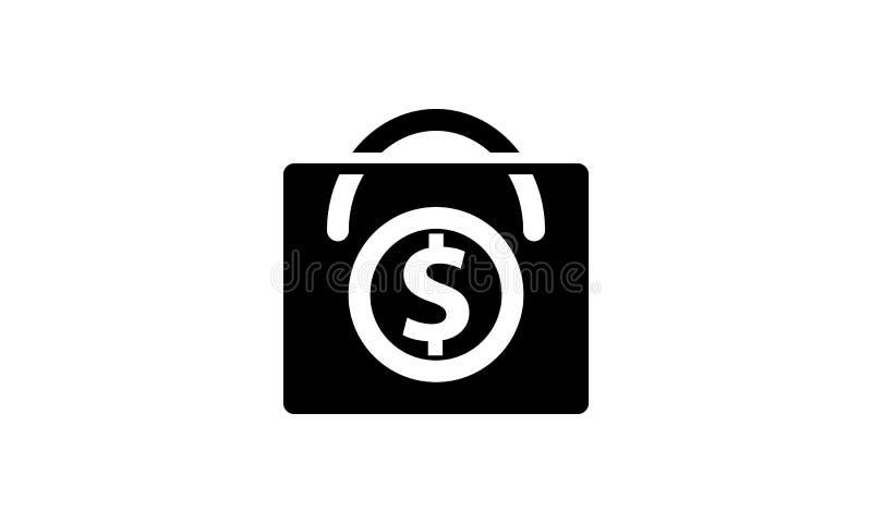 Isolerad fast symbol för pengarmall vektor illustrationer
