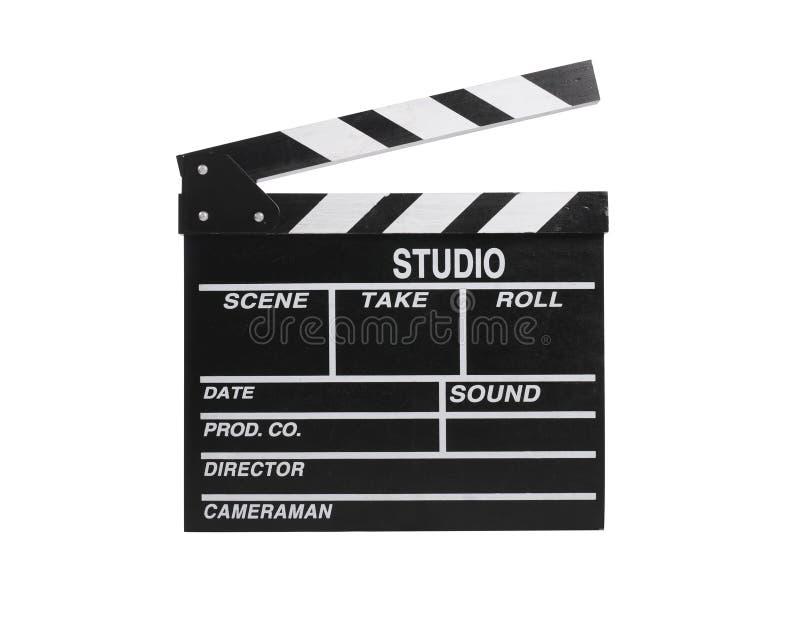 isolerad film för bräde clapper royaltyfria bilder