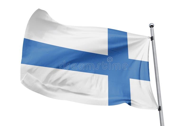 Isolerad Finland flagga som vinkar, framförd realistisk Finland flagga för 3D royaltyfri illustrationer
