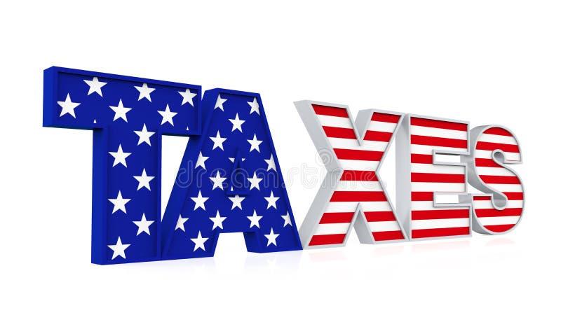 Isolerad flagga för Förenta staterna för `-SKATT` vektor illustrationer