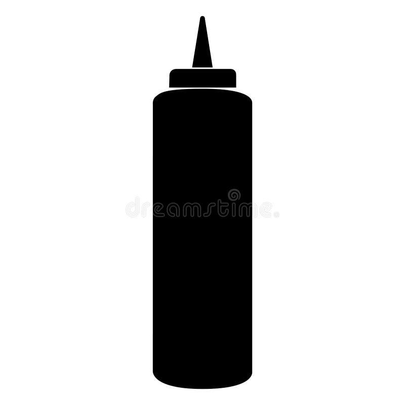 Isolerad flaska för grillfestsås stock illustrationer