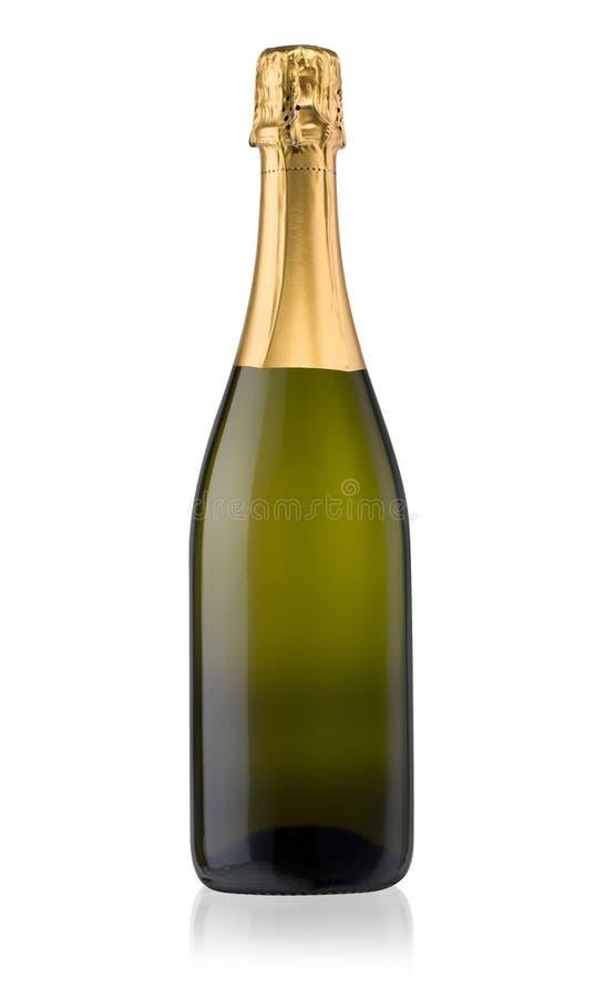 isolerad flaskchampagne arkivbild