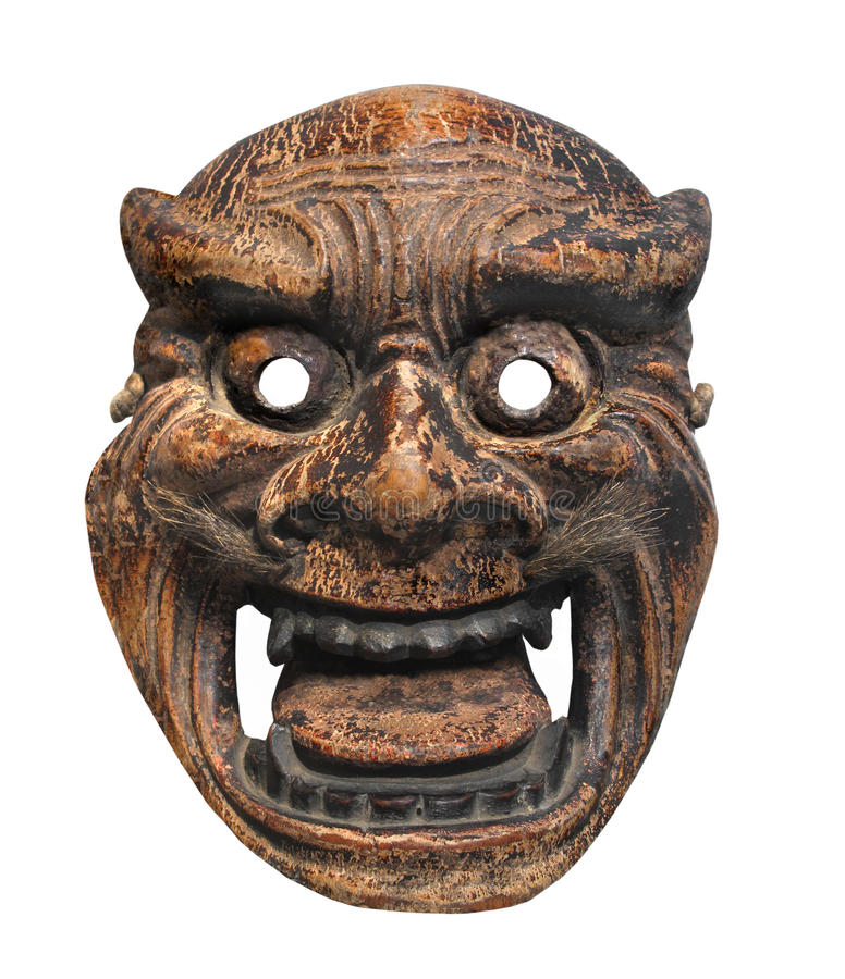Isolerad forntida japansk maskering arkivbild