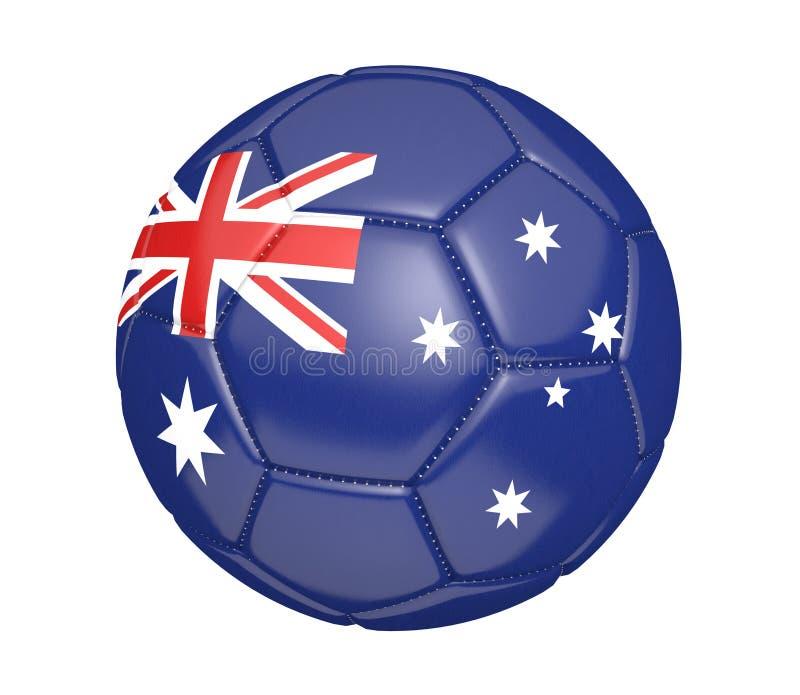 Isolerad fotbollboll eller fotboll, med landsflaggan av Australien, tolkning 3D royaltyfri illustrationer