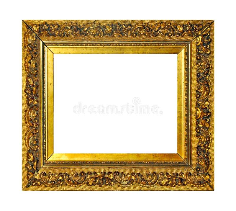 Isolerad fotoram, guld- antik fotoram royaltyfria bilder