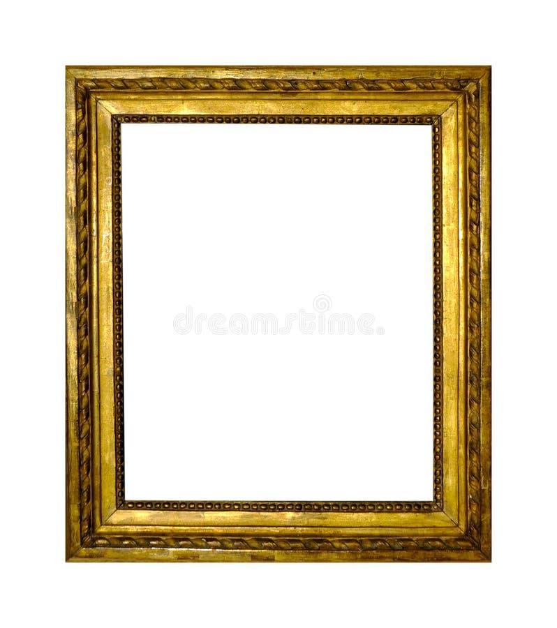 Isolerad fotoram, guld- antik fotoram arkivfoton