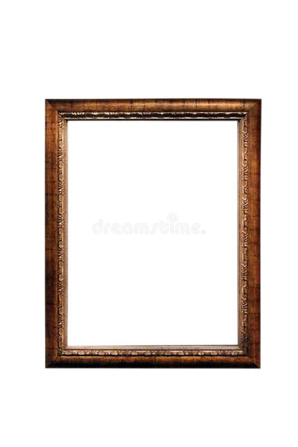 Isolerad fotoram, guld- antik fotoram royaltyfria foton